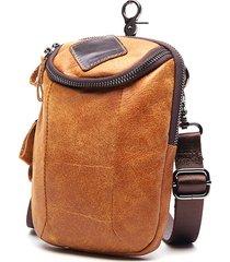 uomo 6 polici vintage zipper vera pelle sacchetto di telefono borsa a  tracolla 7c6706017b6