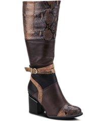 l'artiste women's exguisitie snake print tall boots women's shoes
