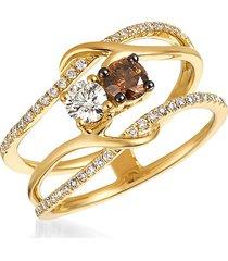 le vian women's chocolatier® 14k honey gold™, vanilla diamonds® & chocolate diamonds® ring/size 7 - size 7