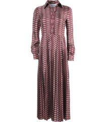 burgundy silk logo dress
