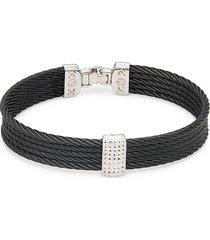 alor women's stainless steel, 14k white gold & white topaz 4-row cable bracelet