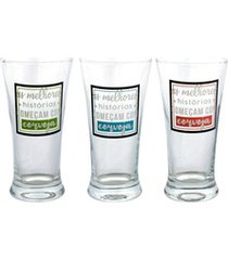 conjunto de copos colecionador para cerveja em vidro 290ml 3 peças
