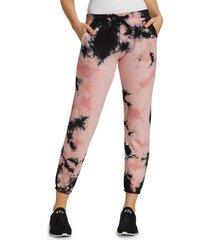 electric & rose women's vendimia tie-dye joggers - blush onyx - size l