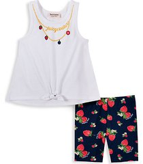 little girl's 2-piece necklace graphic tank top & strawberry-print shorts set