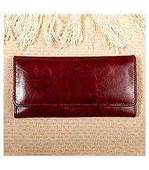long leather trifold wallet, 'coporo burgundy' (mexico)