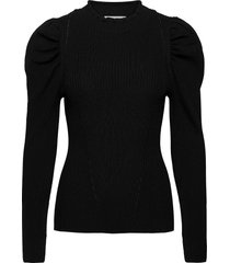 canilla knit t-neck blouse lange mouwen zwart second female