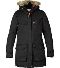 women's fjallraven nuuk waterproof parka with removable faux fur trim, size x-large - black