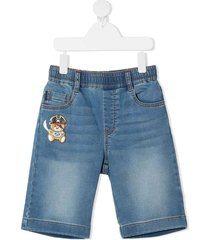 denim bermuda shorts with logo patch