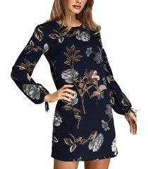 estampado floral aleatorio azul oscuro vestido