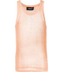 dsquared2 knitted mesh vest top - orange