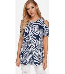 black zebra cold shoulder short sleeves t-shirt