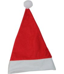"northlight 17.5"" traditional red and white christmas santa claus hat accessory with white pouf"
