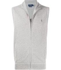 polo ralph lauren sleeveless zipped sweatshirt - grey