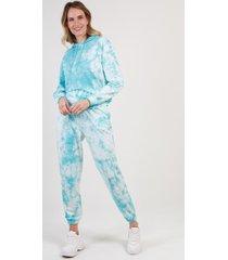 conjunto con capucha tie dye celeste night concept