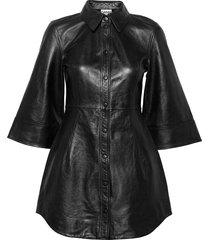 lamb leather jurk knielengte zwart ganni