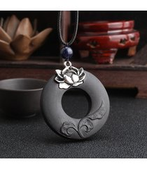 collana vintage in legno di ebano di loto collana di figura rotonda di santificato per le donne