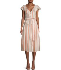 lost + wander women's city to country cotton midi dress - orange - size xs