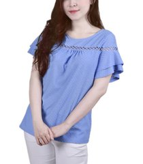 ny collection petite short double flutter sleeve swiss dot top