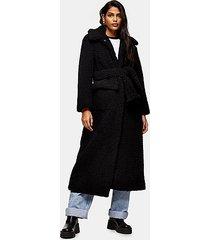 black borg maxi belted coat - black