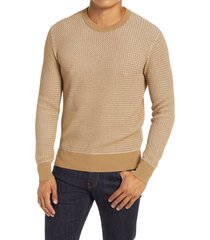 men's club monaco two tone crewneck sweater, size xx-large - brown