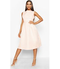 boutique high neck prom dress, nude