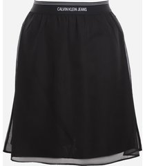 calvin klein jeans skirt made of draped chiffon with logo print