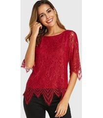 blusa de media manga con cuello redondo de encaje rojo yoins