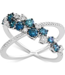 effy shades of bleu diamond x ring (1 ct. t.w.) in 14k white gold