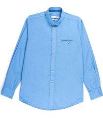 camisa casual manga larga unicolor azul slim fit para hombre 84124