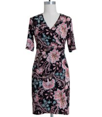 connected plus size floral-print o-ring dress