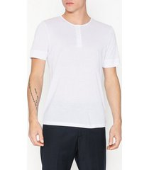 selected homme slhamos ss split neck tee b t-shirts & linnen vit