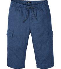 bermuda cargo in lino con elastico in vita regular fit (blu) - bpc bonprix collection