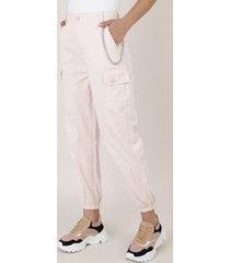 calça de sarja feminina cargo com corrente rosa claro