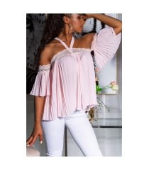 sexy off-shoulder blouse met kant roze