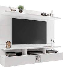 painel bancada suspensa para tv de até 55 polegadas amsterdã branco móveis leão