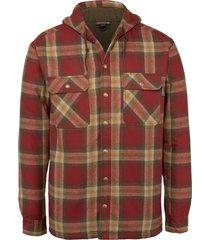 wolverine men's byron hooded shirt jac dark brick plaid, size l
