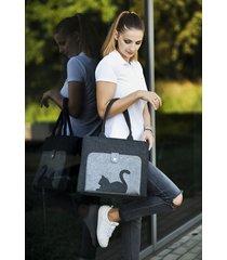 torba na ramię grafit z kieszenią z kotem