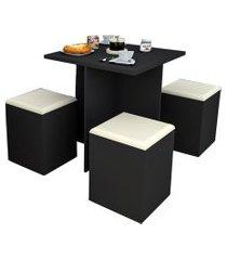 conjunto p/ sala de jantar mesa e 4 banquetas preto e bege appunto