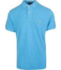 man azure and orange slim-fit pique polo shirt