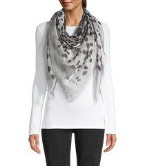 alexander mcqueen women's fringed leopard scarf - ivory black