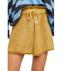 women's free people summertime blues knit shorts, size x-small - yellow