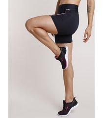 bermuda feminina esportiva ace com vivo contrastante e proteção uv50+ preta