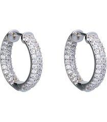 orecchini a cerchio in argento con zirconi per donna