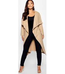 petite waterfall shawl coat, camel