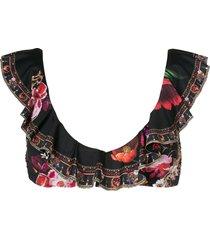 camilla floral-print ruffled bikini top - black