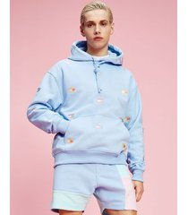 tommy hilfiger men's recycled pastel embroidered flag hoodie light powdery blue - xxl