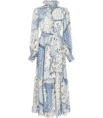 etro chio patchwork-print silk midi dress