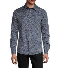 michael kors men's flurry-print shirt - dark denim - size xl