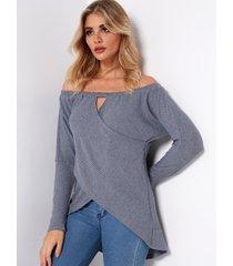 grey crossed front design off shoulder hollow details irregular hem t-shirts