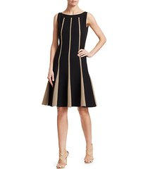sleeveless grid inset wool a-line dress